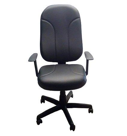 Cadeira Presidente Giratoria em Corino Gomado com Base Preta e Braco Fixo Plaxmetal Preto