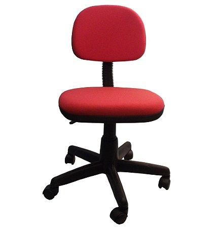 Cadeira Secretaria Giratoria em Tecido com Base Preta Plaxmetal Vermelho