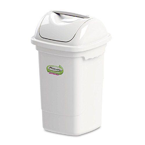 Lixeira Plastica Basculante Plasvale Branco  14 Lt