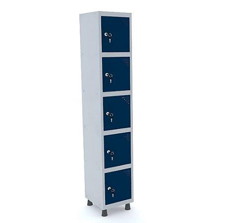 Roupeiro de Aco 1 Vao 5 Portas com Fechadura Pandin Cinza e Azul Del Rey  1,90 M