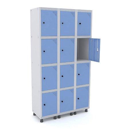 Roupeiro de Aco 3 Vaos 12 Portas com Pitao Pandin Cinza e Azul Dali  1,90 M