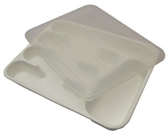 Porta Talher de Plastico com Tampa Jolly  Branco 33,5 Cm, 26.3 Cm, 4.5 Cm