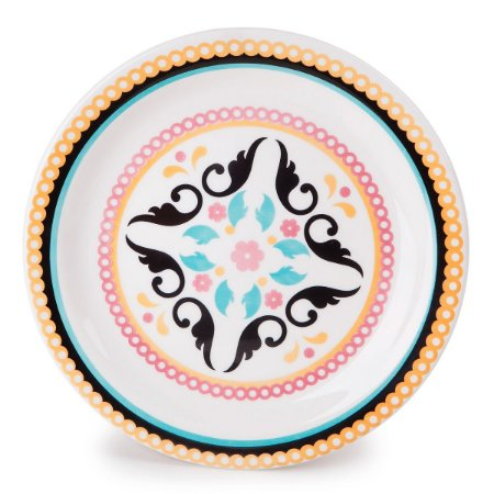 Prato de Porcelana Fundo Decorado Luiza  Biona Oxford 23 Cm