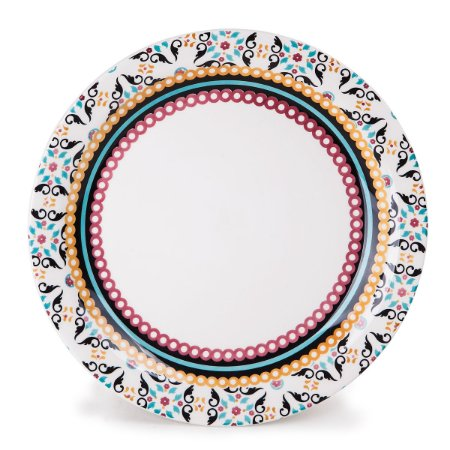 Prato de Porcelana Raso Decorado Luiza Biona Oxford 26 Cm