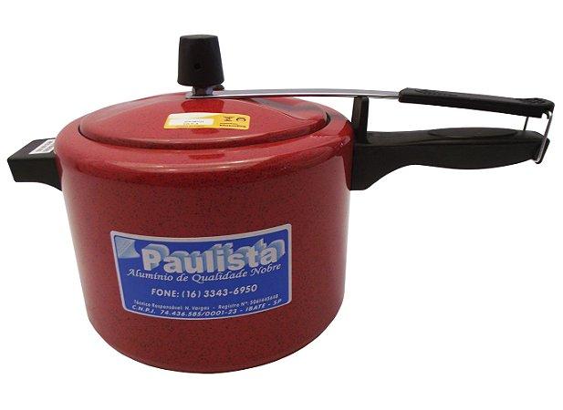 Panela de Pressao Polida Aluminio Paulista  Vermelho  4.5 Lt