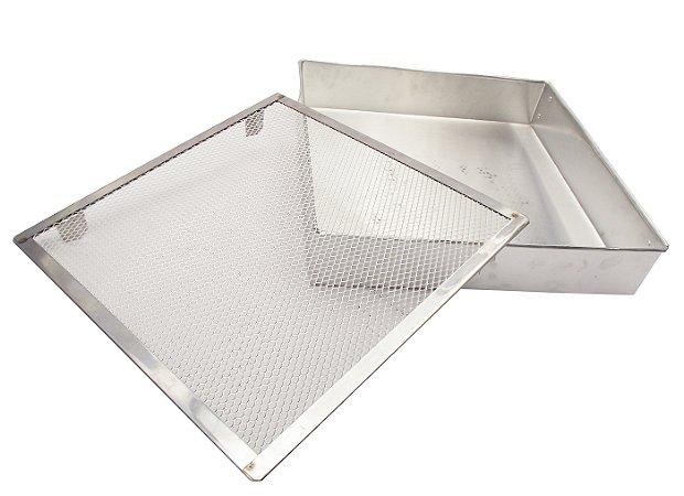 Forma Quadra em Aluminio com Tela para Escorrer Fritura Walpan  35 Cm, 35 Cm