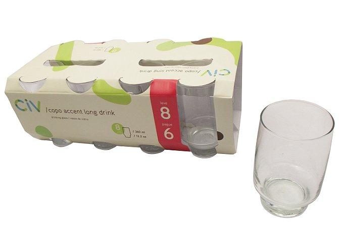 Conjunto com 8 Copos de Vidro Long Drink Accent Cisper 360 Ml