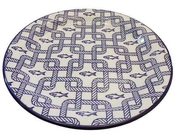 Prato de Porcelana para Sobremesa Decorado Nautico Biona Oxford