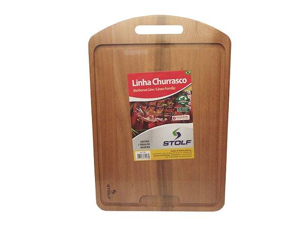Tabua de Madeira com Pegador para Churrasco Stolf  48 Cm, 33 Cm