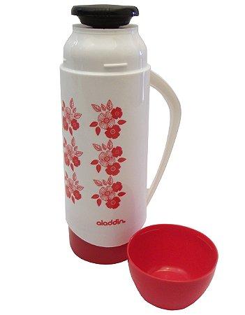 Garrafa Termica de Mesa Atx Floral Continental Plus Aladdin Branco e Vermelho  500 Ml