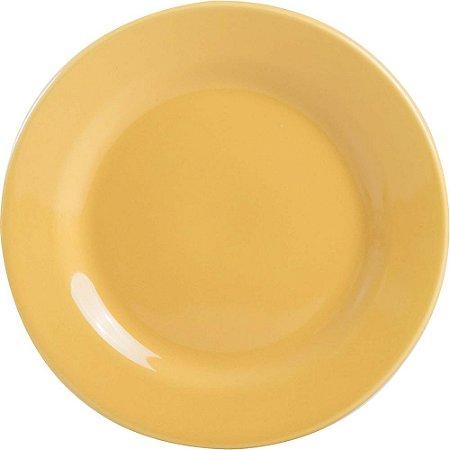 Prato de Porcelana Liso Raso Donna Biona Oxford Amarelo 26 Cm