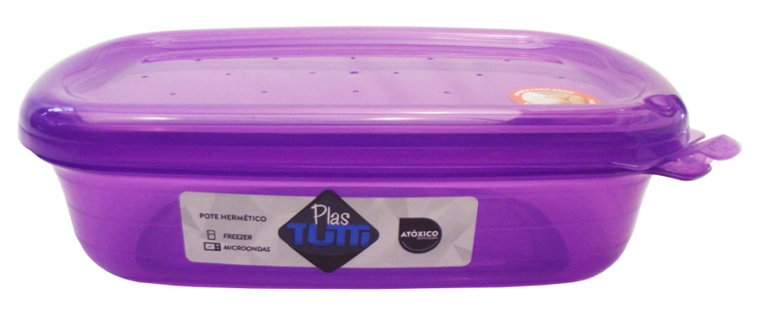 Pote Plastico Retangular Grande Hermetico Color Plastutti Roxo  03 Lt