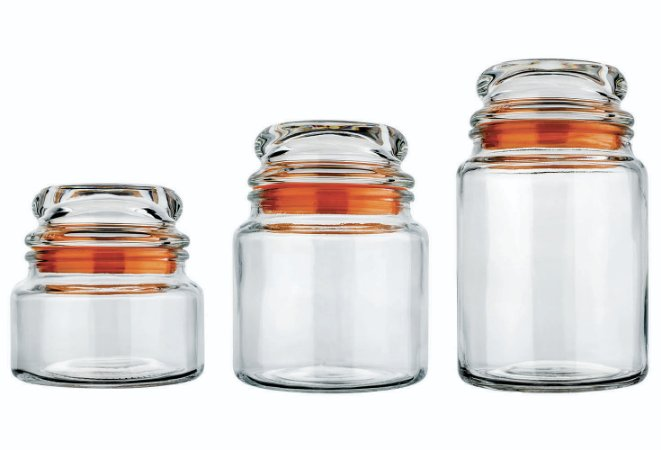 Conjunto de Potes De Vidro com 3 Unidades Euro  Laranja