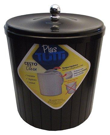 Cesto Plastico com Tampa Clean Plastutti Preto  05 Lt