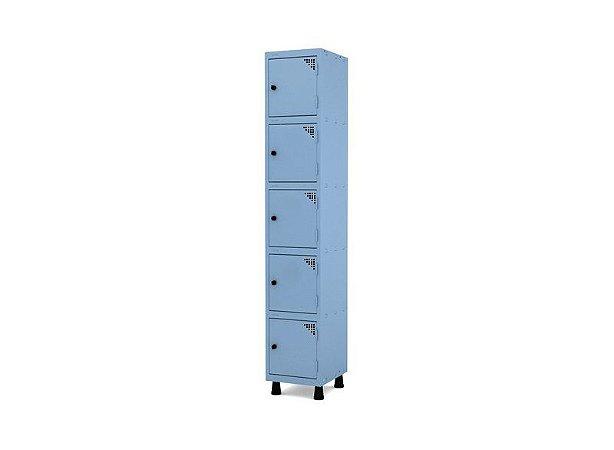 Roupeiro de Aco 1 Vao 5 Portas com Pitao Pandin Azul Dali  1,90 M