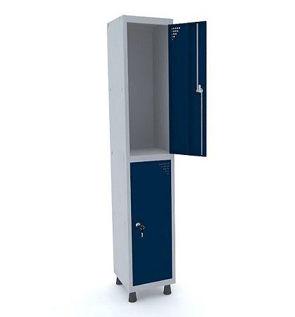 Roupeiro de Aco 1 Vao 2 Portas com Fechadura Pandin Cinza e Azul Del Rey  1,90 M