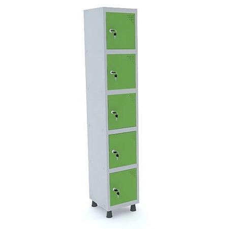 Roupeiro de Aco 1 Vao 5 Portas com Fechadura Pandin Cinza e Verde Miro  1,90 M