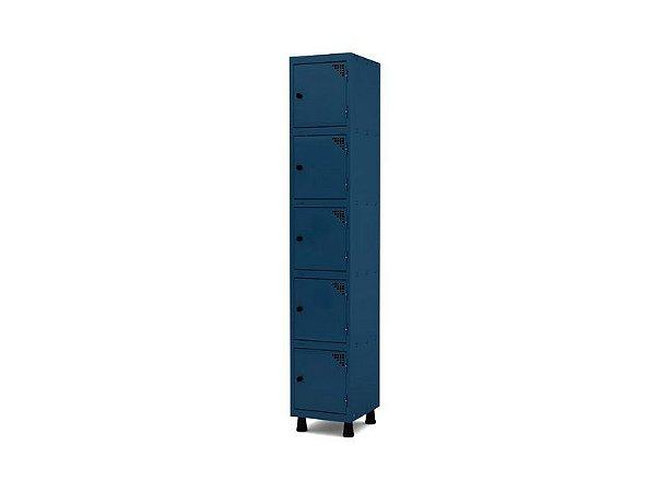 Roupeiro de Aco 1 Vao 5 Portas com Pitao Pandin Azul Del Rey  1,90 M