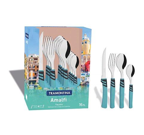 Faqueiro em Aco Inox com 16 Pecas Amalfi Tramontina Azul