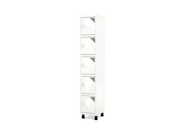 Roupeiro de Aco 1 Vao 5 Portas com Fechadura Pandin Branco  1,90 M