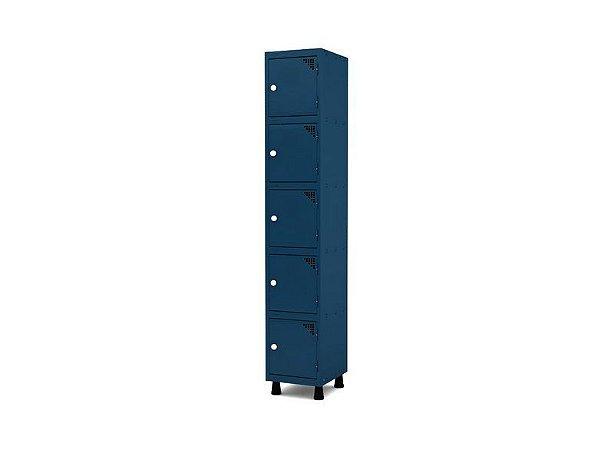 Roupeiro de Aco 1 Vao 5 Portas com Fechadura Pandin Azul Del Rey  1,90 M