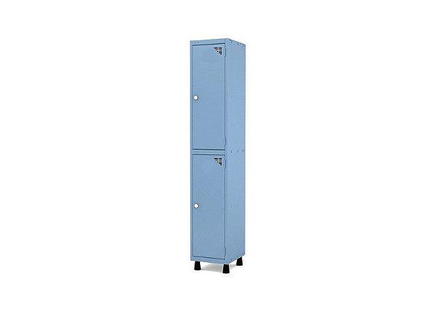 Roupeiro de Aco 1 Vao 2 Portas com Fechadura Pandin Azul Dali  1,90 M