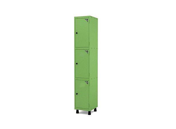 Roupeiro de Aco 1 Vao 3 Portas com Pitao Pandin Verde Miro  1,90 M