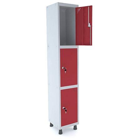 Roupeiro de Aco 1 Vao 3 Portas com Fechadura Pandin Cinza e Vermelho  1,90 M