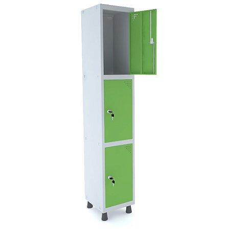 Roupeiro de Aco 1 Vao 3 Portas com Fechadura Pandin Cinza e Verde Miro  1,90 M