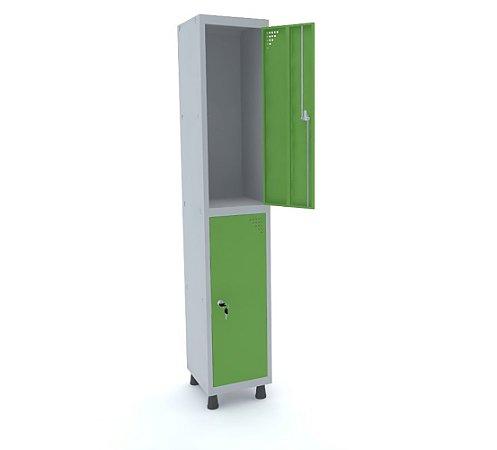 Roupeiro de Aco 1 Vao 2 Portas com Fechadura Pandin Cinza e Verde Miro  1,90 M
