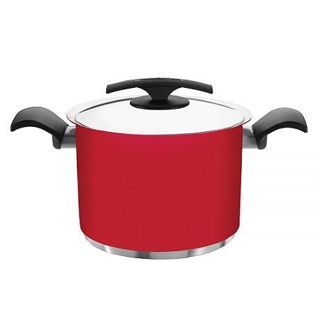 Caldeirao em Aco Inox com Fundo Triplo e Acabamento Com Silicone Duo Color Tramontina Vermelho 24 Cm 7.7 Lt