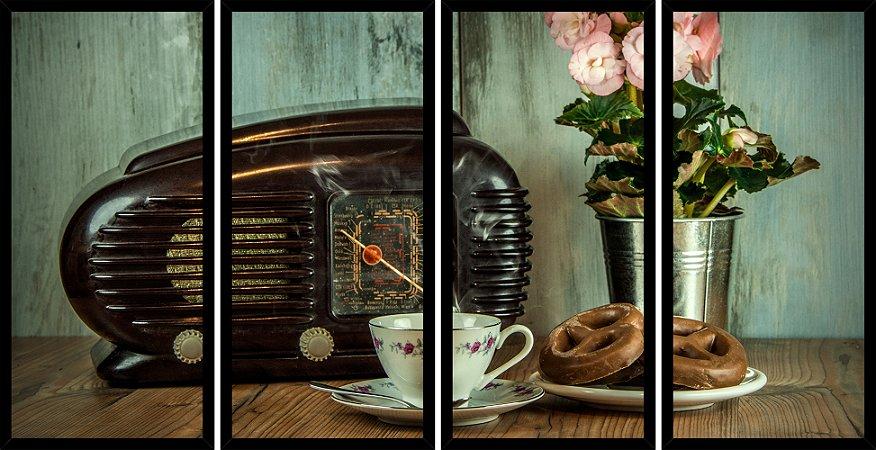 Quadro Mosaico 4 Partes Reto Cafe Radio Antigo Art e Cia Preto