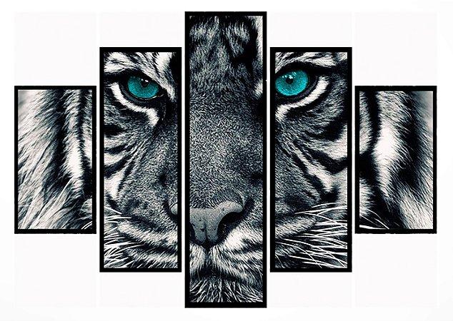 Quadro Mosaico 5 Partes Tiger With Blue Eyes Moldura Preta Art e Cia