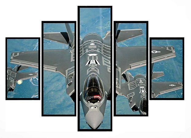 Quadro Mosaico 5 Partes Jato Militar Usa Moldura Preta Art e Cia