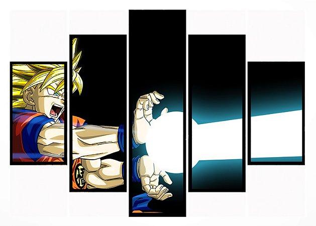 Quadro Mosaico 5 Partes Goku Kamehameha Moldura Preta Art e Cia