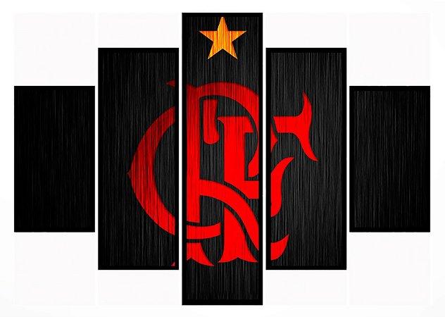 Quadro Mosaico 5 Partes Flamengo Simbolo Moldura Preta Art e Cia