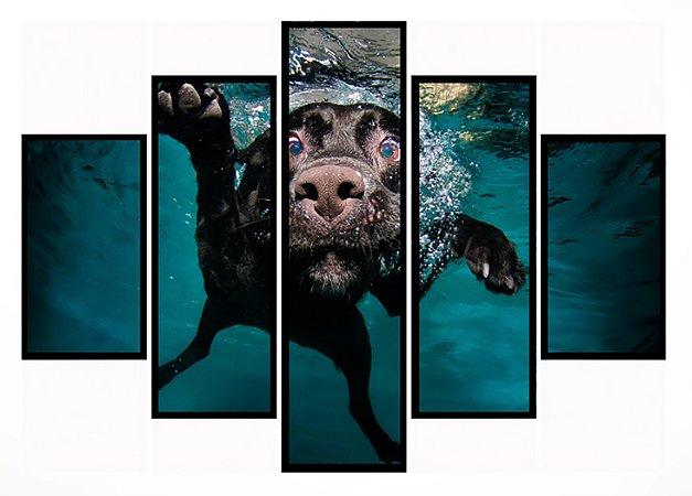 Quadro Mosaico 5 Partes  Mergulho Do Cachorro Moldura Preta Art e Cia