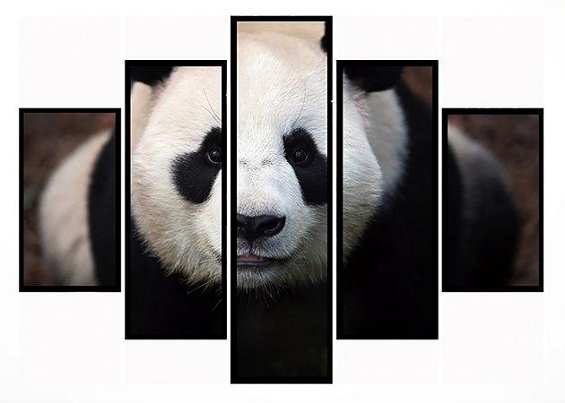 Quadro Mosaico 5 Partes  Panda Moldura Preta Art e Cia