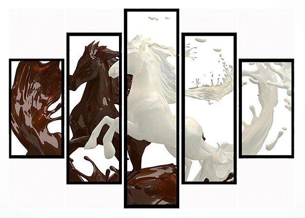 Quadro Mosaico 5 Partes Cavalos de Chocolate Moldura Preta Art e Cia