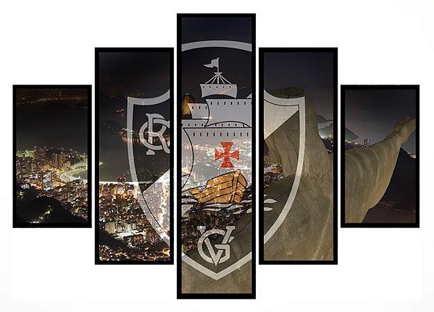 Quadro Mosaico 5 Partes Vasco com Cidade Moldura Preta Art e Cia