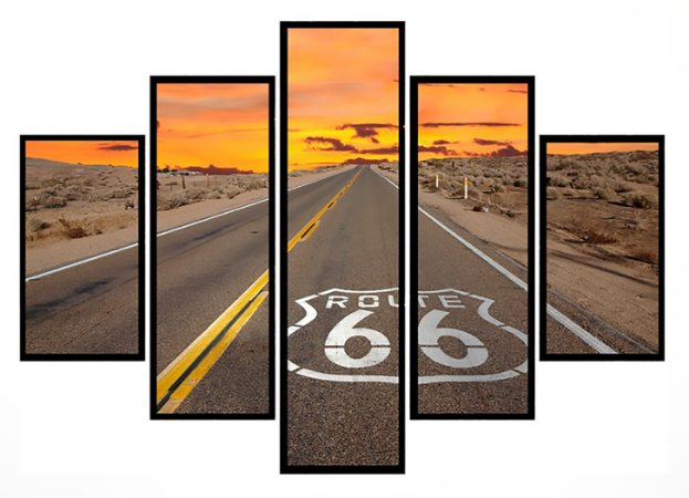 Quadro Mosaico 5 Partes Estrada Route 66 Moldura Preta Art e Cia
