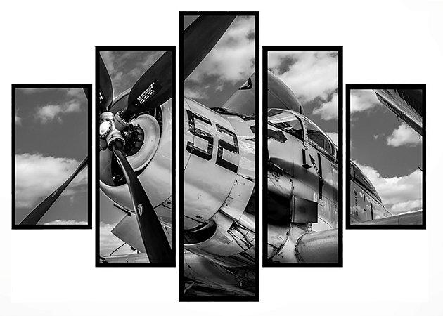 Quadro Mosaico 5 Partes Aviao Experimental 152 Moldura Preta Art e Cia