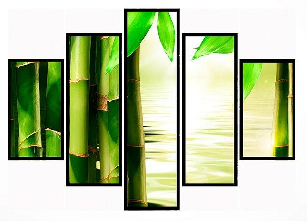 Quadro Mosaico 5 Partes Bambu Moldura Preta Art e Cia