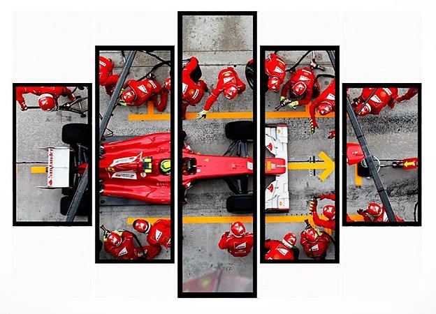 Quadro Mosaico 5 Partes Pit Stop Ferrari Moldura Preta Art e Cia