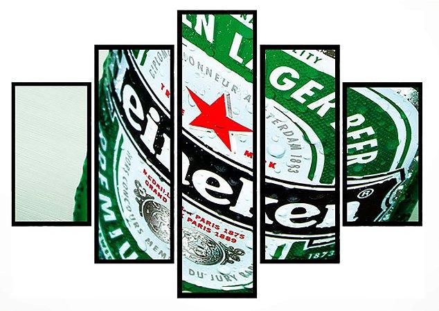 Quadro Mosaico 5 Partes Heineken Moldura Preta Art e Cia