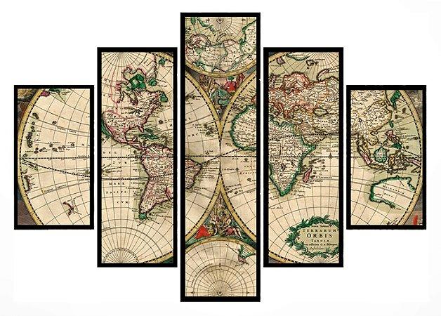 Quadro Mosaico 5 Partes Mapa Bege Moldura Preta Art e Cia