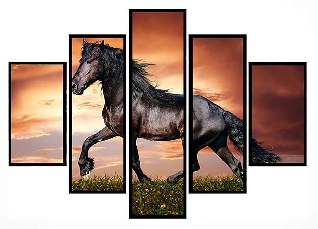 Quadro Mosaico 5 Partes  Beautiful Horse Moldura Preta Art e Cia