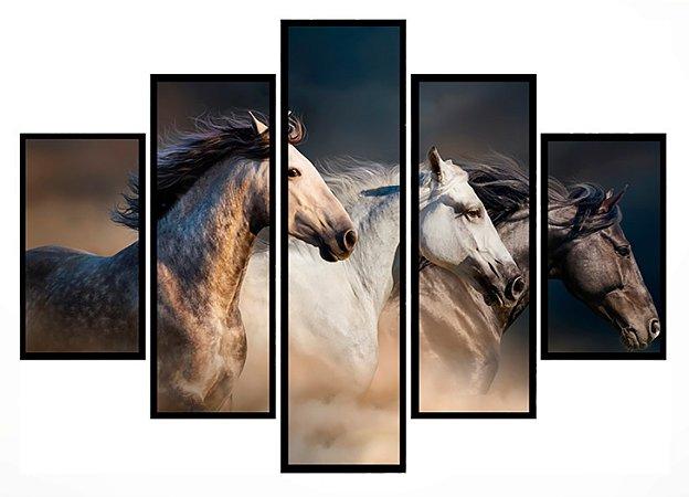Quadro Mosaico 5 Partes Cavalos Selvagens Moldura Preta Art e Cia
