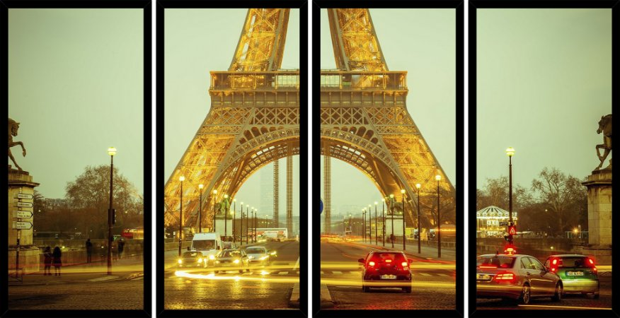 Quadro Mosaico 4 Partes Reto Paris Torre Eiffel Art e Cia Preto