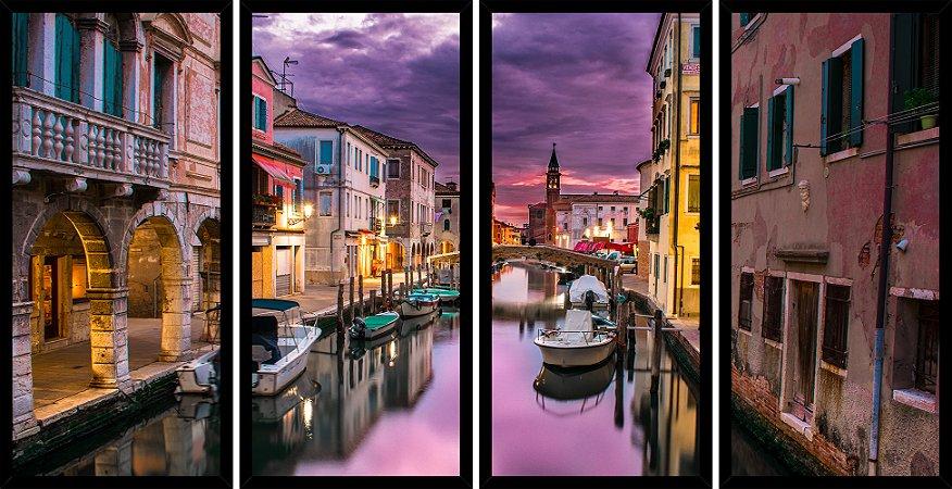 Quadro Mosaico 4 Partes Reto Canal de Veneza Art e Cia Preto